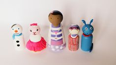Doc McStuffins Inspired Peg Doll Set of Chilly, Stuffy, Hallie, Lambie, and Doc McStuffins