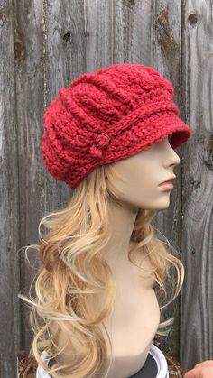 Chunky Crochet Hat, Crochet Newsboy Hat, Crochet Baby Hats, Knit Or Crochet, Knitted Hats, Crochet Poncho Patterns, News Boy Hat, Crochet Designs, Crochet Projects