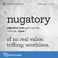 nugatory. Origins are Latin, around 1595-1605. #grammar #wordoftheday #keithrmueller