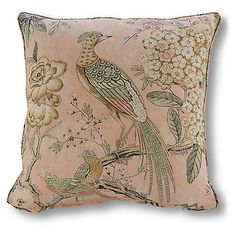 Floral Pheasant Pillow, Blush Linen - Gifts by Recipient - Gifts : Floral Pheasant Pillow, Blush Linen – The Graceful Master Bedroom – Unfiled – Sales Events 2017 Velvet Pillows, Linen Pillows, Sofa Pillows, Decorative Throw Pillows, Cushions, Pillow Dress, White Sofas, Beautiful Living Rooms, Designer Pillow