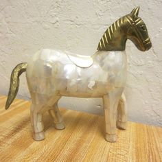 Vintage Mother Of Pearl MOP Tiled Brass Horse Figurine Statue