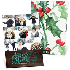 """Nine fun photos fit on the front of this two-sided Christmas Card, with a """"Be Merry"""" banner at the bottom that glows with real foil. Choose from 5 different foil colors! #christmas #holiday"""