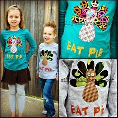 It's that time again!  TURKEY SHIRTS!!!  This is how it allllll started, and this year, the turkeys are doing their best to blend in with the scenery and to promote peaceful thoughts.  :)  Each Turkey Shirt is lovingly handmade by me and only me.  They are hand-drawn, hand-cut, stitched on using my trusty sewing machine, and buttons are selected and sewn on by me.  As seen in the pictures, girly turkeys are on a long-sleeved, teal shirt