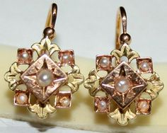 ANTIQUE VICTORIAN FRENCH BI COLOR 18K GOLD PEARL HAND MADE FINE EARRINGS c1870