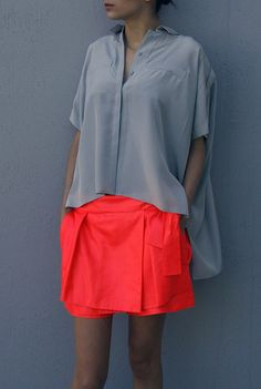 Grey + Neon Orange... Skort, I like...