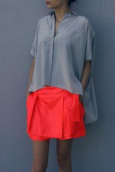 Grey + Neon Orange... Skort, I like...