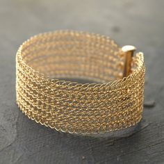 Items similar to Knit Narrow gold cuff bracelet, Wire crocheted bracelet, Knitted gold cuff, Elegant Handmade bracelet, Unique jewelry on Etsy Wire Jewelry, Beaded Jewelry, Unique Jewelry, Knitted Jewelry, Jewellery, Handmade Bracelets, Cuff Bracelets, Gold Bangles, Crochet Metal