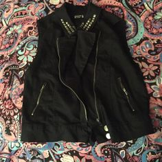 Denim black studded vest Black denim best with studs on the collar. Great condition, bought this a while ago and barely wore it! Forever 21 Jackets & Coats Vests