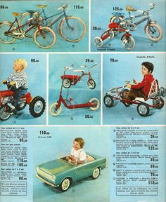 Catalogue: NOUVELLES GALERIES 1964. Pedal Cars, Toys For Boys, Vintage Toys, Vintage Photos, Childhood, 1975, Youth, Motorbikes, Madeleine