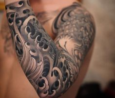 black and grey tattoo sleeve Japanese Tattoos For Men, Traditional Japanese Tattoos, Japanese Tattoo Designs, Japanese Sleeve Tattoos, Japanese Cloud Tattoo, Asian Tattoo Sleeve, Tattoo Japanese Style, Wave Tattoo Sleeve, Best Sleeve Tattoos
