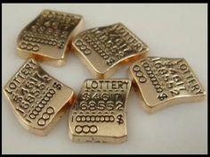 Golden Lottery Ticket Charm for Origami Owl Living Memory Lockets #Locket