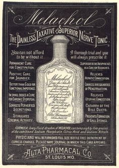 Melachol Nerve Tonic Vintage Advertisement.    In case you need your perverted secretions cured...