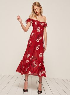 Red Reformation off-the-shoulder midi dress - click through for more festive wedding guest dresses