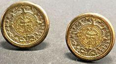 Sterling Silver Aztec Mayan Sun Calendar Earrings Gold Tone Accent Disk TOZ TLI #TOZTLI