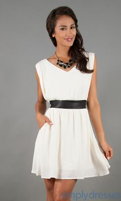 Ivory Belted Dress, Trendy Junior Summer Dresses, Simply Dresses