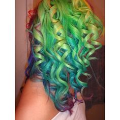 (1) Rainbow Curled Hair | Hair! | Pinterest ❤ liked on Polyvore featuring beauty products, haircare and hair