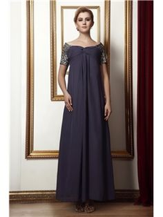 Beautiful Column Pleats Off-the-Shoulder Short-Sleeve Ankle-Length Alina's Mother of the Bride Dress