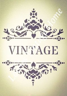 A4 Stencil VINTAGE WITH BORDER ❤️ For Furniture Fabric Glass Walls Shabby Chic Vintage Fonts, Vintage Lettering, Vintage Patterns, Stencil Patterns Letters, Letter Patterns, Letters And Numbers, Silhouette Design, Decoupage, Stencils