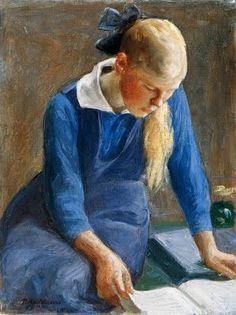 Menina lendo, 1918, Pekka Halonen ( Finlândia,1865-1933), Óleo sobre tela  67 x 52 cm  Coleção Particular