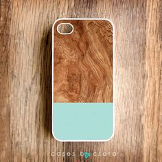 Wood & mint print iPhone case