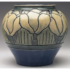"Newcomb College - Vase. Painted & Glazed Pottery. Decorated by Leona Nicholsin. Circa 1900. 10"" x 9""."