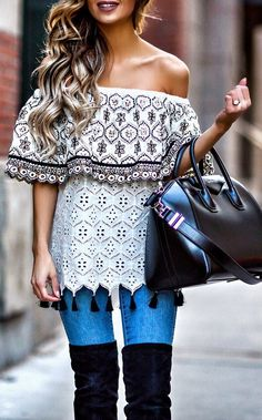 pretty spring outfits / White Printed Off Shoulder Top / Black Leather Tote Bag / Bleached Skinny Jeans / Black OTK Boots
