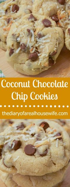 Coconut Chocolate Chip Cookies. Maybe one of the bet cookie recipes. For real so good!