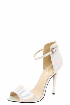 Scarlett Holographic Strappy Heels at boohoo.com