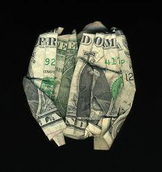 Money Talks: Amazing Dollar Bill Art of Dan Tague pics] Fold Dollar Bill, Dollar Bill Origami, Money Origami, Origami Art, Dollar Bills, Origami Boxes, Origami Flowers, Origami Jewelry, Origami Tooth