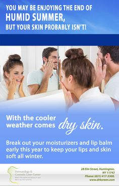 Visit your dermatologist at #DermatologyAndCosmeticLaserCenter to make sure your skin is prepared for winter.