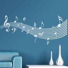"""Vinilo decorativo de temática musical. Escala musical para decorar cualquier estancia de tu hogar. Armonía y elegancia pondrán la """"música"""" en la decoración de tus estancias. #teleadhesivo #decoracion"""