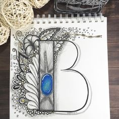 Zentangle gem letter
