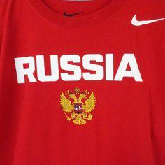 Nike Team Russia Hockey Short Sleeve Cotton Regular Fit T-Shirt Red Size Small #Nike #TeamRussiaHockeyTShirt