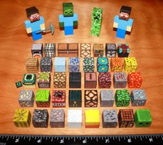 "Custom Minecraft Lego Steve, Creeper, Diamond Pickaxe, Zombie, Herobrine and 39 blocks. $ 89.95, via Etsy. OR follow these instructions on YouTube using paper templates (link included), 1"" wood blocks from craft store, and modpodge. :)) http://www.youtube.com/watch?v=d_Wg5KxVB5k"
