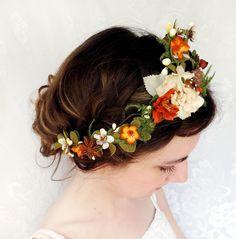 rustic fall wedding headpiece, orange flower, green foliage hair wreath - WOODLAND ELF - bridal flower crown, wedding accessory. $115.00, via Etsy.