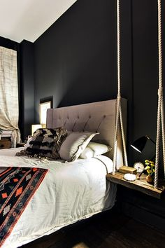 Contemporary Master Bedroom with Margaux and Walter Kent - Reclaimed Wood Tree Swing - 24 Inch, Paint 1, High ceiling