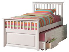Twin Hardwood Mates Trundle Bed in a White finish with FREE SHIPPING nationwide! http://www.bunkbedkingdom.com/products/twin-hardwood-mates-trundle-bed-white.html