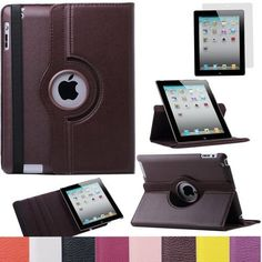 Pandamimi ULAK(TM) 360 Rotating Magnetic PU Leather Case Smart Cover For The New iPad 4 3 2 Generation Tablet with Screen Protector (Brown) by ULAK, http://www.amazon.com/dp/B00DOQOBZM/ref=cm_sw_r_pi_dp_oqn7rb1M3ZC34