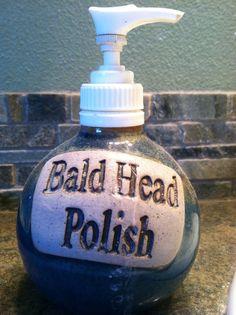 Bald head polish soap container