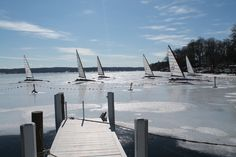 Iceboats off of the Gage Marine Pier's in Williams Bay, Wisconsin. Lake Geneva winters.