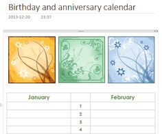 Birthday and anniversary calendar Template
