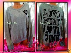 New Victoria's Secret Pink L Heather Gray Campus Heart Signature Crew Sweatshirt | eBay