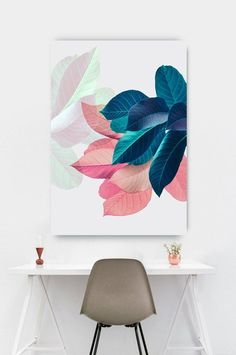 Plant Prints Tropical Wall Art Leaf Poster Pink and Blue Art Mural, Inspiration Wall, Bedroom Art, Pink Leaves, Printable Art, Wall Art Prints, Canvas Prints, House Warming, Wall Decor