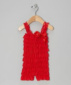 This Red Lace Ruffle Romper - Infant & Toddler by Little Gem is perfect! #zulilyfinds