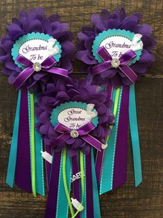 Items similar to 1 Small baby shower Grandma pin- purple and turquoise corsage- purple and turquiose baby shower-grandma to be pin- peacock baby shower on Etsy Baby Shower Mum, Baby Shower Purple, Mermaid Baby Showers, Baby Mermaid, Girl Shower, Baby Shower Games, Baby Shower Parties, Turquoise Baby Showers, Baby Corsage