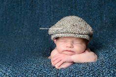 Baby boy drivers hat for newborn photos --- scally cap, seamus, golfer hat -- great photo prop