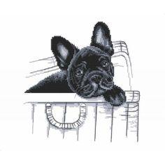 "French bulldog - ""Here I am"" cross stitch pattern - Black Dog cross stitch digital pattern Cross Stitch Charts, Cross Stitch Patterns, Black And White Printer, Dog Illustration, Illustrations, Dmc, Cross Stitch Animals, Cat Pattern, Digital Pattern"