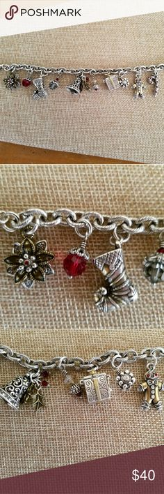 Brighton Christmas charm bracelet Adorable charm bracelet is like new, super sweet charms including a present that can be openes to reveal a little heart on the lid Brighton Jewelry Bracelets