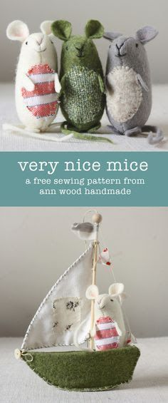 very nice mice : pattern and instructions (and it's free!) - Sewing projects (bags)- very nice mice : pattern and instructions (and it's free!) ann wood : very nice mice pattern Stuffed Animals, Stuffed Animal Patterns, Sewing Toys, Sewing Crafts, Sewing Projects, Felt Crafts, Fabric Crafts, Diy Crafts, Garden Crafts