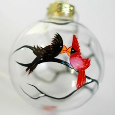 Love Birds Cardinal Glass Ornament - Hand-painted by Mary Elizabeth Arts $20